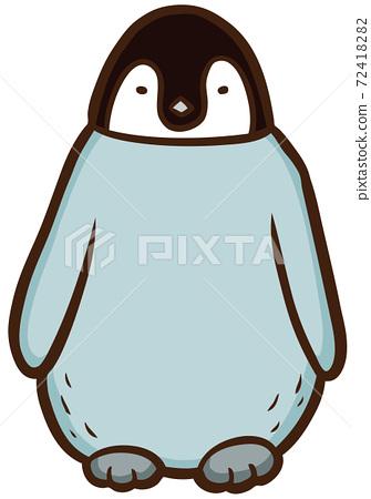面對前面的Kotei企鵝的小雞的插圖 72418282