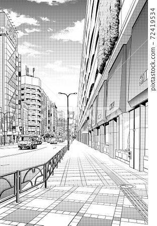 漫畫風格的鋼筆劃插圖市中心_城市景觀 72419534