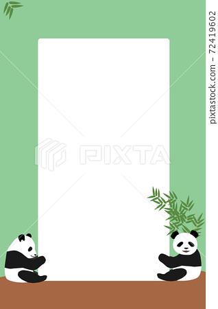 支持白板的兒童熊貓招牌熊貓框架垂直智能手機尺寸淺藍色竹葉 72419602