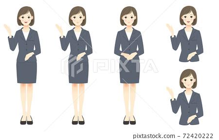 一位女士穿著西裝來展示 72420222