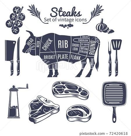 Steaks Vintage Style Icons Set 72420618