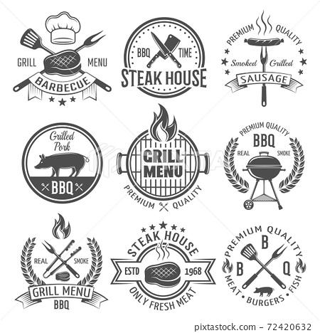 BBQ Graphic Flat Emblems 72420632