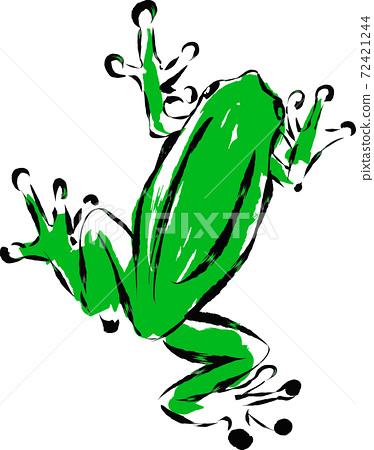 用墨水繪製的藝術品中的日式青蛙的插圖 72421244