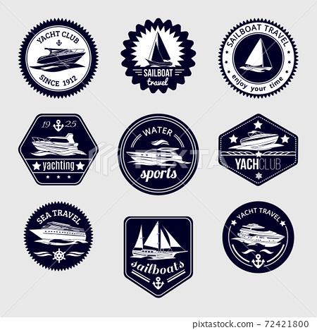 Sailboats travel labels icons set 72421800