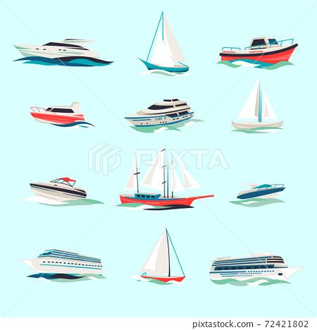 Boats icons set 72421802