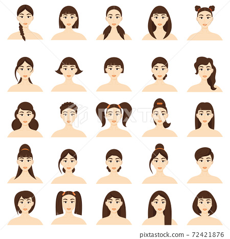 Set of women's hairstyles. Beautiful young brunette girls with different hairstyles isolated on a white background.. 72421876