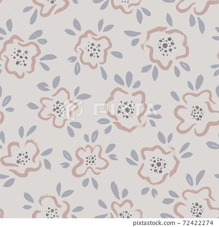 Hand drawn brush flower vector seamless pattern. 72422274