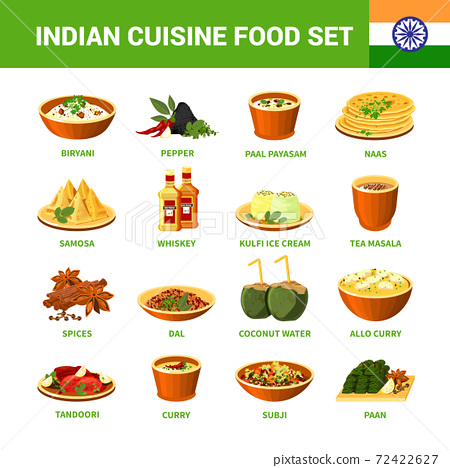 Indian Cuisine Food Set 72422627