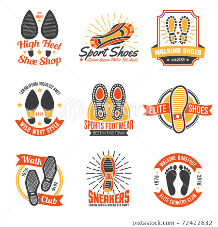 Footwear Labels With Footprints  Icons Set 72422632
