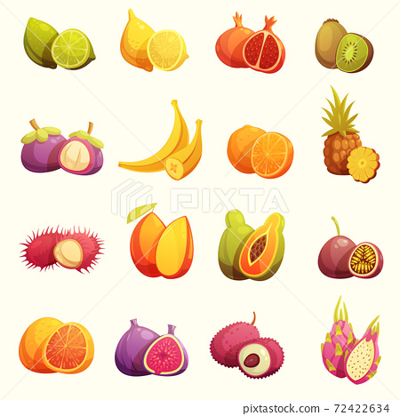 Tropical Fruits Retro Cartoon Icons Set 72422634
