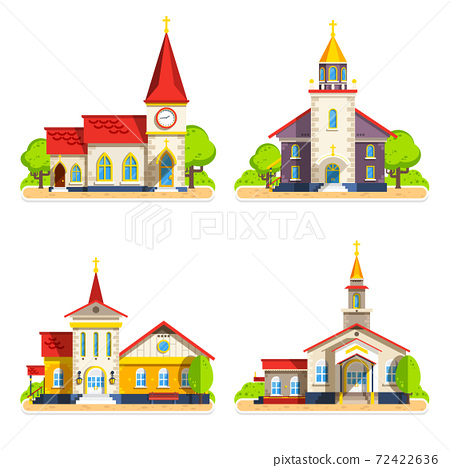 Church Flat Icons Set 72422636
