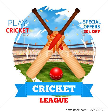 Cricket Stadium Illustration 72422679