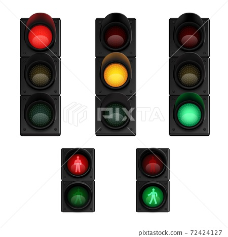 Trafic lights realistic pictograms set 72424127