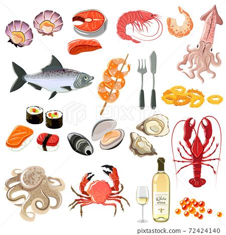 Seafood Icons Set 72424140