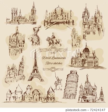 World Landmarks Sketch Vintage Icons Set 72424147
