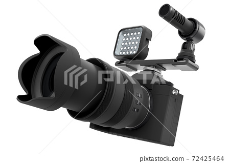 Nonexistent DSLR camera with lens, external speedlight and microphone on white. 72425464