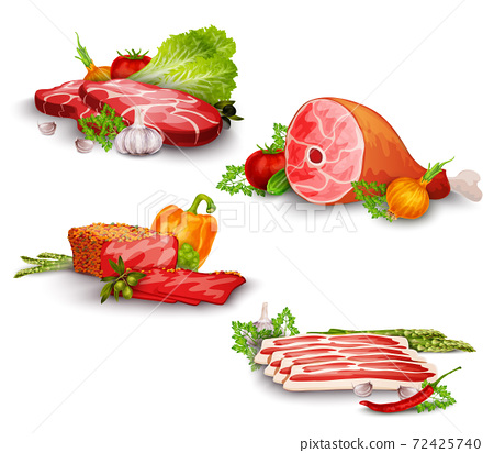 Meat With Vegetables Set 72425740