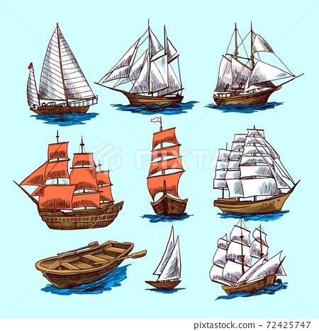 Ships and boats sketch set 72425747