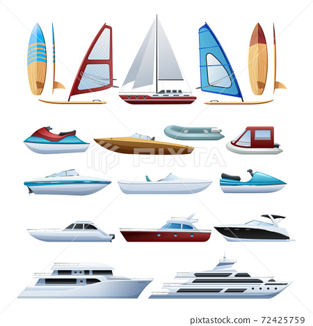 Boats  And Windsurfer Flat Icons Set 72425759