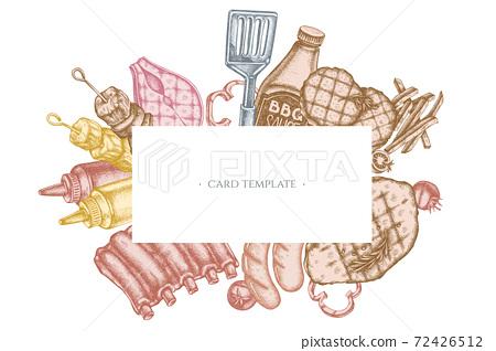 Frames with pastel spatula, Pork ribs, kebab, sausages, steak, sauce bottles, grilled burger patties 72426512