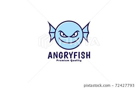 cute cartoon monster fish happy head smile logo vector icon illustration design 72427793