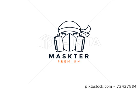 respirator mask line with people face logo vector icon illustration design 72427984