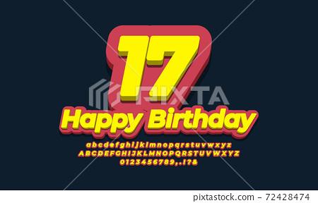 number seventeen year celebration birthday  3d  yellow design 72428474