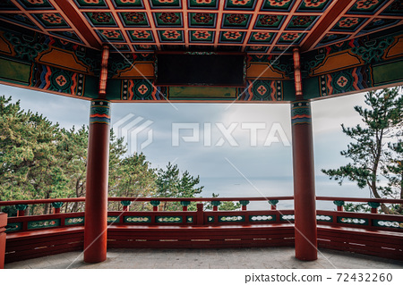 Haewoljeong Korean traditional pavilion and ocean view at Haeundae Dalmaji-gil Moontan Road in Busan, Korea 72432260
