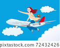 乘飛機旅行的婦女前往運動 72432426
