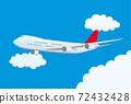 飛行藍天的飛機 72432428