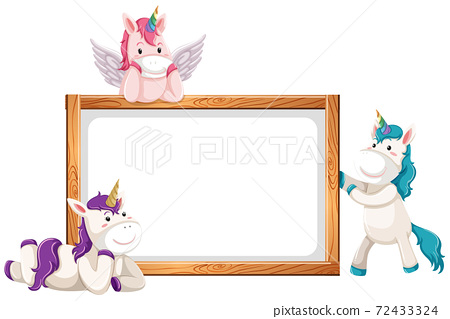 Blank banner with cute unicorns isolated on white background 72433324