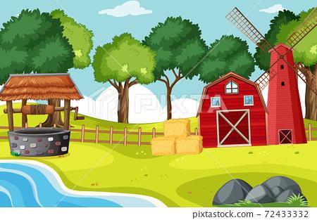 Barn and widmill in farm scene 72433332