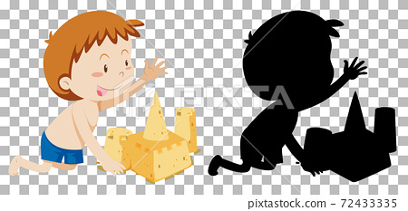 Summer cartoon character on transparent background and its silhouette 72433335