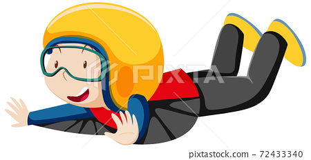 Boy wearing flying costume with flying position cartoon character isolated on white background 72433340