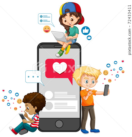 Children with social media elements on white background 72433411