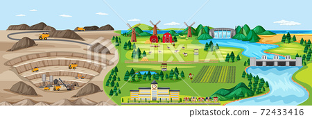 Landscape of coal mine and agriculture land 72433416