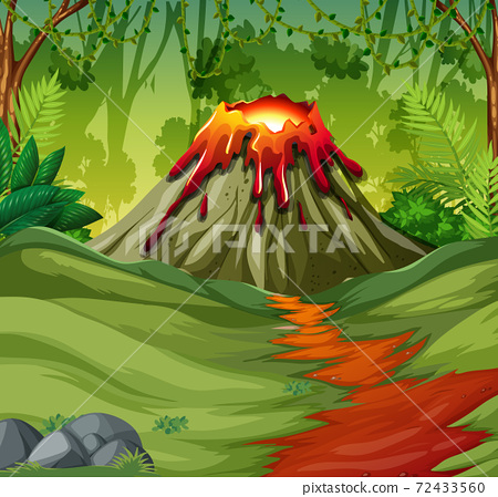Volcano eruption in nature forest scene at daytime 72433560