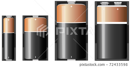 Types of alkaline battery isolated on white background 72433598