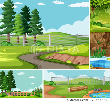 Four different scenes in nature setting cartoon style 72433679