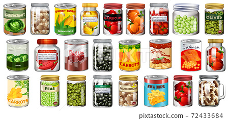 Set of different canned food and food in jars isolated 72433684