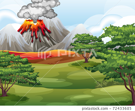 Volcano eruption in nature forest scene at daytime 72433685