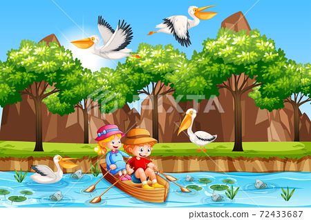 Children row the boat in the stream forest scene 72433687