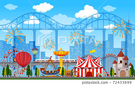 Amusement park scene at daytime with fireworks in the sky 72433699