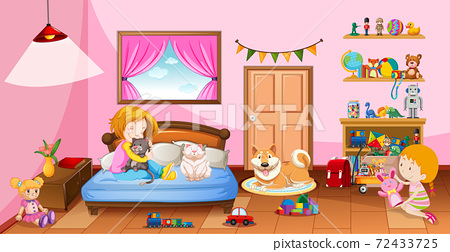Cute girls playing with their toys in the pink bedroom scene 72433725