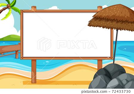 Blank wooden frame in beach scene 72433730