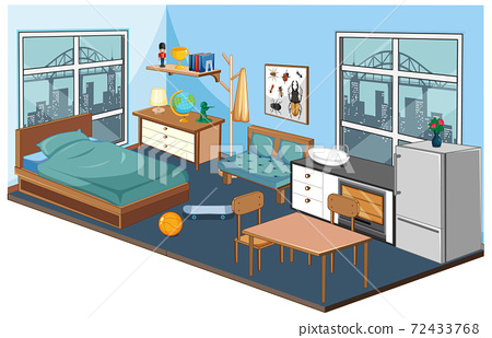 Bedroom interior with furniture and decoration elements in blue theme 72433768