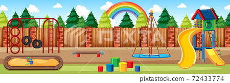 Kids playground in the park with rainbow in the sky at daytime cartoon style panorama scene 72433774