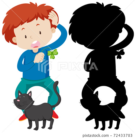 Boy playing with cat in colour and silhouette 72433783