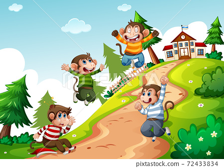 Four monkey wear t-shirt jumping in nature scene 72433834