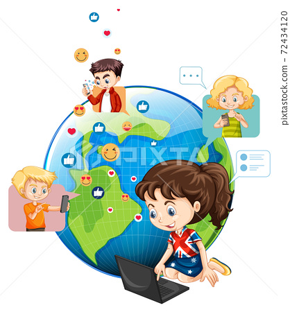 Children with social media elements on earth globe 72434120